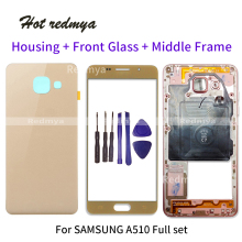 Full Housing Middle Frame For Samsung A5 2016 A510 A510F LCD Front GLASS+Housing Metal Middle Frame+Back Glass Battery Cover защитная плёнка для samsung galaxy a5 2016 sm a510f front