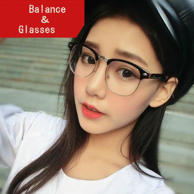 b3195b046ce Vintage Eyeglasses Women Semi-rimless reading Plain Glass Spectacles frame  classic Men Brand Designer rivet