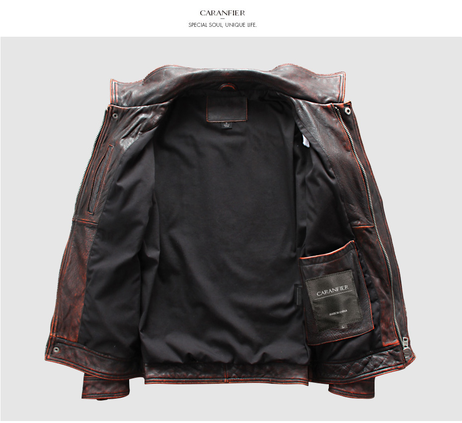 HTB1cm44Xa67gK0jSZFHq6y9jVXaE CARANFIER DHL Free Shipping Mens 100% Cowhide Genuine Leather Jacket High quality old retro motorcycle leather jacket 3XL