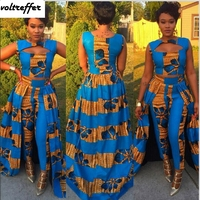 Floral Print Two Piece Set African Style Dashiki Sexy Pants Suits Cloak Crop Top Retro 2018 Summer Vintage Outfits Lingerie XXL