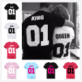 King QUEEN 01 Couple T Shirt 2016 High Fashion  Women Letter Tshirt Summer Cotton Casual Tee Shirts Hombre T-shirts T-F10004
