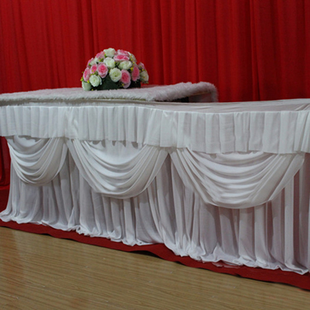 Baby Shower Table Decrations 10 Ft Length Ice Silk Table Skirt Wedding  White Table Skirting Birthday