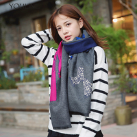 YOULINE 2018 Autumn Winter Female Pure Color Cashmere Scarves Women Printed Shawl Double Sided Color Pashmina