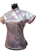 Stylish Pink Traditional Chinese Silk Satin Blouse Women Summer Vintage Shirt Tops New Flower Clothing S M L XL XXL WS012
