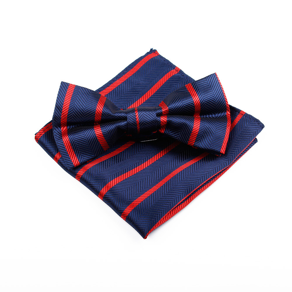 Man Classic Stripe Necktie Tie HandKerchief Bowtie Set Formal Occasion Dress Marry Wedding Groom Groomsman Necessary Gentle Wear