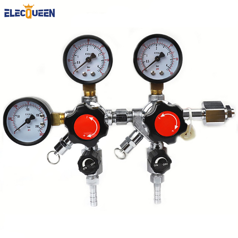 Hot Dual CO2 Gauge Regulator Homebrew CO2 Regulator CO2 Dual Gauge Regulator with replacement silicone 0