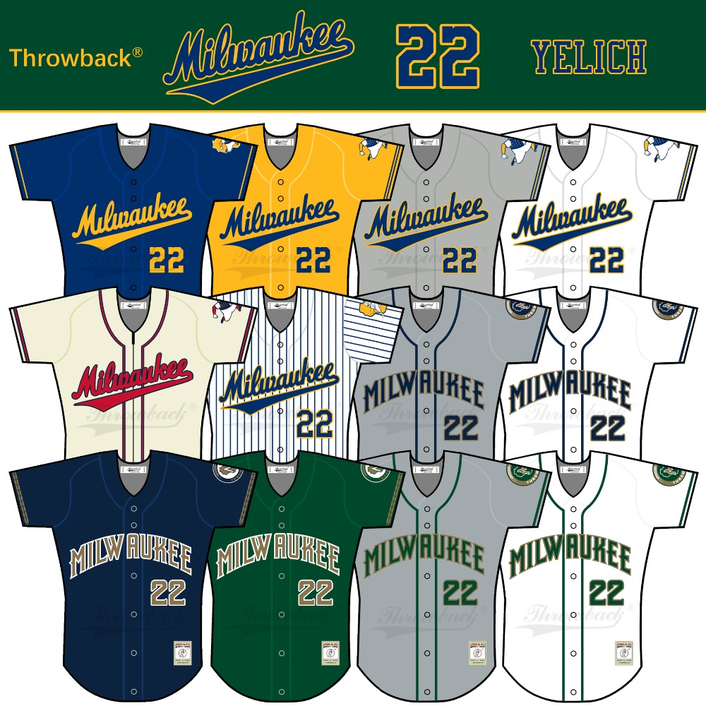 Throwback Jersey Men's Milwaukee Jersey 22 Christian Yelich Baseball Jersey White Yellow Green Blue Gray Size S-XXXL