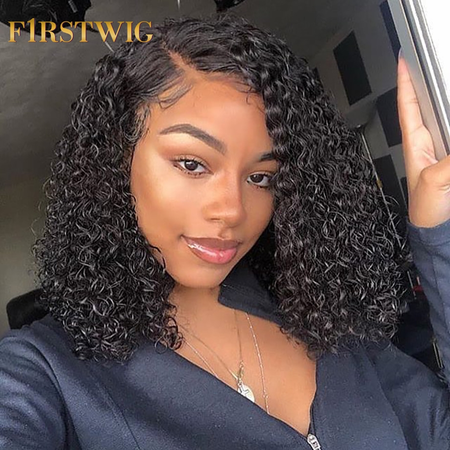 Short Bob Lace Front Human Hair Wigs Brazilian Curly Human Hair Wig For Black Women Full End 130 150 250 Density Lace Wig(China)