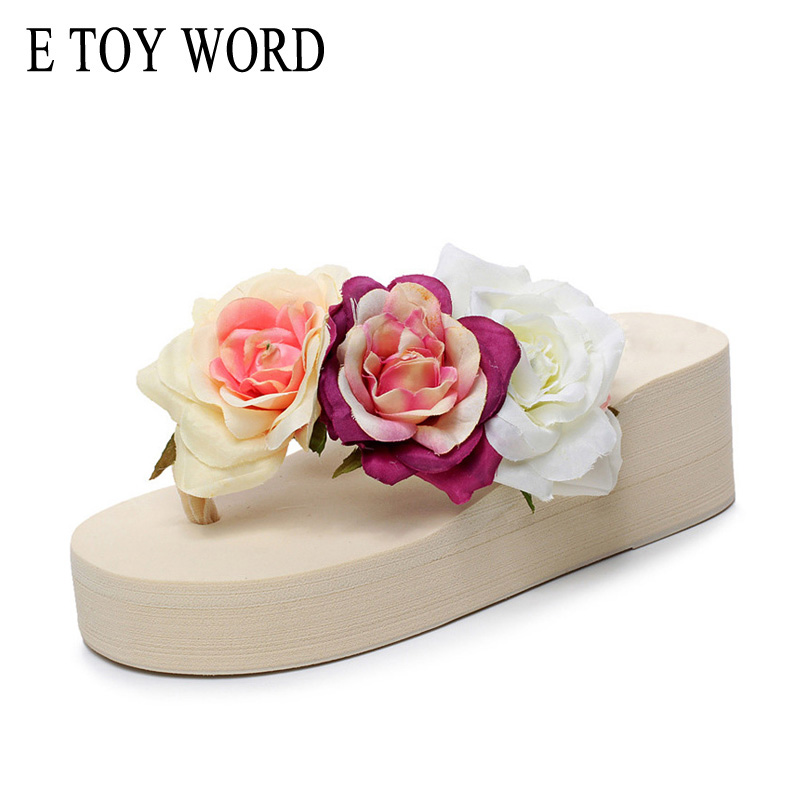 E TOY WORD Summer Flip Flops Fashion Roses Flower Wedge Platform Woman Shoes High Heels Beach Sandals Ladies Thick High Pantufas cool scorpion design die out vinyl sticker on car for vw polo golf mazda and so on fashion car side door decals labels