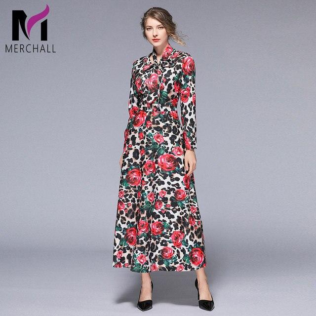 415e6083f818e US $25.46 49% OFF|Aliexpress.com : Buy Merchall New Fashion 2019 Designer  Runway Maxi Dress Women's Long Sleeve Bow Neck Gorgeous Rose Leopard Print  ...