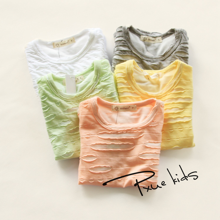 New fashion Baby Girls Worn Tshirt Children 2016 summer Short Sleeve 100%Cotton T-shirt tees Kids Clothes 5 candy colors tops