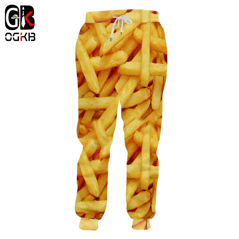 OGKB Jogger Pants Men Fashion Loose Food 3D Sweat Pants Print French Fries Chips Streetwear Plus Size 5XL Costume Man Sweatpants Рубашка