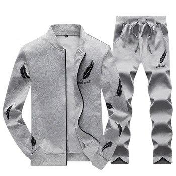 Men's Sport Suit Spring Autumn Tracksuit Men Sportswear Hoodies 2 Pieces Set Sweatsuit Sweatshirt Track Suits Joggers 4XL