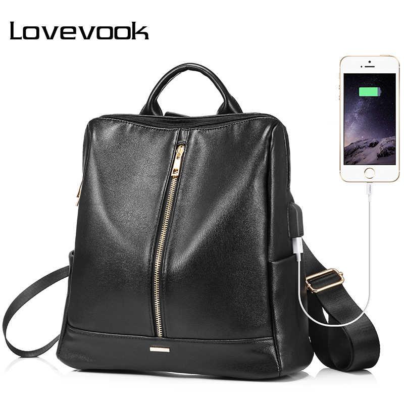 LOVEVOOK рюкзак женский и женщины сумка женская большая с внешним USB рюкзаки школьные для девочек подростков из PU высокого качества