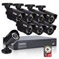 Zosi hd 8ch cctv sistema de 8 canales de 720 p dvr 8 unids 1.0mp bala Al Aire Libre Cámara de Vídeo Del Sistema de Vigilancia Kits de 1 TB de Disco Duro