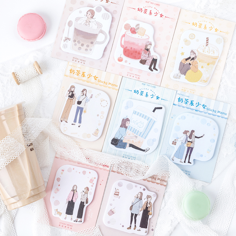 Kawaii Milk Tea Girl Series N Times Sticky Notes Creative Office Decor Memo Pad Shipping Supplies Decoration Japanese Stationery