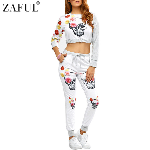 ZAFUL mujer Yoga Sets Fitness Workout ropa gimnasio deportes Running Girls  activa aumentó cráneo impresión Topand e3e3df7cad19