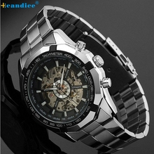 Hot Sale Skeleton Automatic Watches For Men Silver Stainless Steel Wrist Watch Creative Mar10