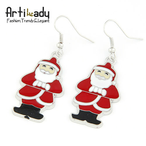 Artilady Christmas gift  jewelry bag free  Father Christmas earrings  lovely earring for women 2013 fashion  jewelry