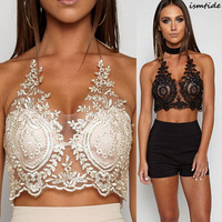 Blackless Halter Bustier Crop Top V Neck Women Transparent Lace Bralette Sequins Summer Crop Tank Tops