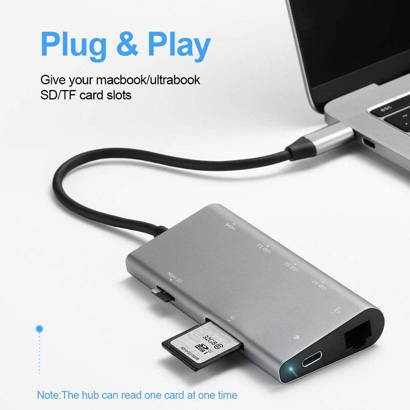 Llano USB docking Estación de todo-en-uno USB-C a HDMI lector de tarjeta RJ45 PD adaptador para MacBook Samsung galaxy S9/S8/S8 + tipo C HUB - 3