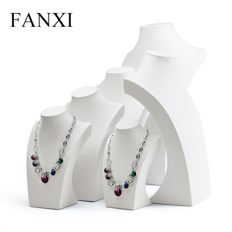 FANXI Stylish White PU leather Jewelry Display Stand Mannequin Model Pendant Display Necklace Bust Holder Jewelry Organizer stylish multilayer pu leather tassel pendant necklace for women