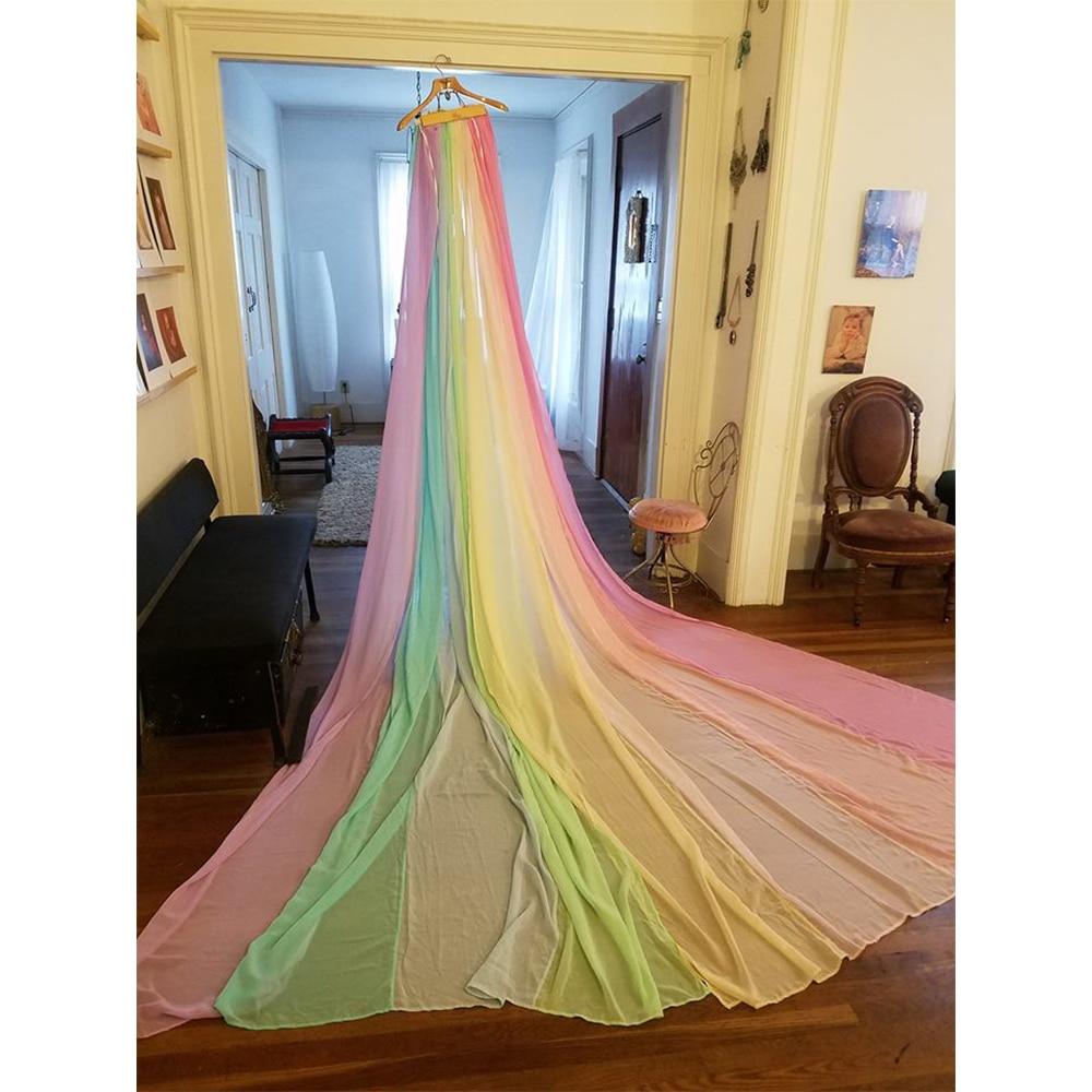 D&J New Mix Color Rainbow Chiffon Long Dress Cloak Cape Maternity Pregnant Female Dresses Maternity Photography Props