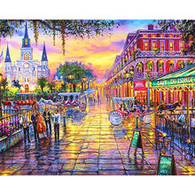 New orleans Louisiana Paesaggio diamante pittura a punto croce di babbo natale pupazzo di neve hibah home decor pintura diamante ponto cruz(China)