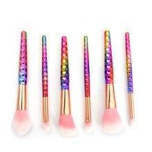 6Pcs/Set Rainbow Makeup Brushes set Foundation Eyeliner Eyebrow Lip Brush Tools cosmetics Kits Make up Brush Set