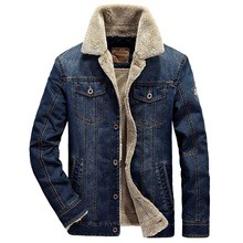 Denim jacket men AFS JEEP jacket coat brand men's Winter jackets high quality fur parka thickening warm jeans jacket men M-4XL(China (Mainland))