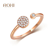 Open AAAAA Cubic Zircon Rings for women Rose gold Wedding rings female anel Crystal Engagement anillos bague anillos mujer Z4 new simple gold silver rose gold color crystal wedding rings for women full clear aaa cubic zircon engagement ring anillos anel