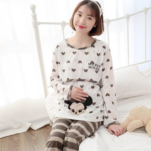 pregnant woman sleepwear Autumn cartoon clothes trousers 2pcs set Maternity long sleeve O-neck pajama female Nursing Wear suit