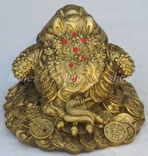 Chinese Old china fengshui bronze copper Wealth money Golden Toad frog beast statue decoration factory outlets