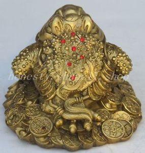 Chinois vieux chine fengshui laiton cuivre richesse argent doré crapaud grenouille bête statue décoration laiton magasins d'usine