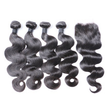 Brazilian Hair Bundles With Closure 4 Bundles Body Wave Human Hair With Closure Natural Color Brenda Remy Hair with Closure(China)