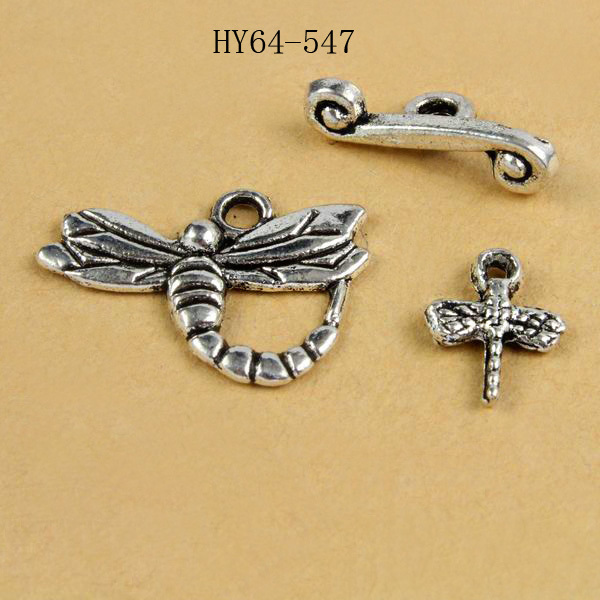 Free Shipping (35 Set/lot) 64-547  Zinc Alloy Antiquated Siver-plated Dragonfly Toggle Clasp With Little Dragonfly Charm