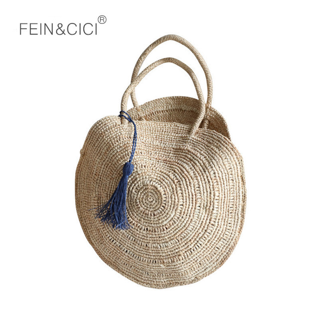 beach bag summer round straw shoulder bag large big Jumbo circular women Weave natural boho handbag 2018 Bohemian ins wholesale