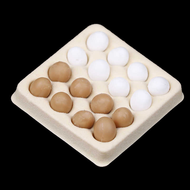 1:12 A Dozen Egg +Tray Candy Food Toy Match Collectible Gift Furniture Toys Dollhouse Miniature For Sylvanian Families