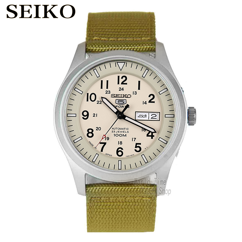 лучшая цена SEIKO Watch No. 5 Automatic Fashion automatic mechanical waterproof men watch SNZG13J1 SNZG11K1 SNZG07J1 SNZG17J1 SNZG09J1