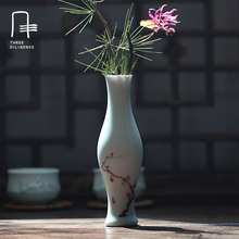 Ceramic Vases Shadow-blue Glaze Vases Small jars Handpainted Lotus Tabletop Plants Bottles Wedding Decoration Furnishing Article
