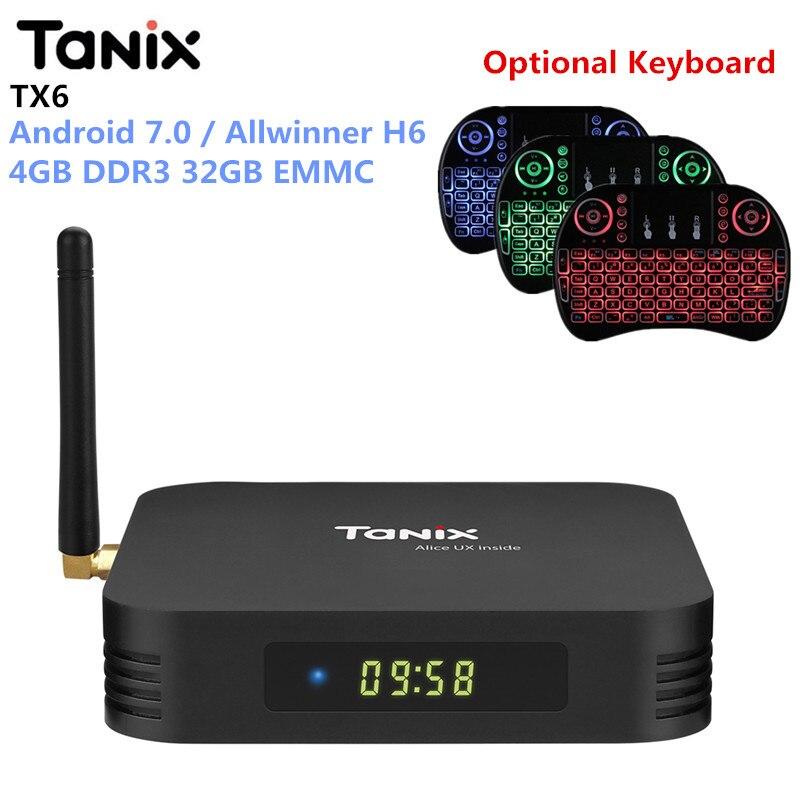 Tanix TX6 Android 7.0 boîtier de smart tv Allwinner H6 4 GB DDR3 32 GB MEM Set Top Box 2.4 GHz + 5.8 GHz WiFi Bluetooth5.0 4 K Lecteur
