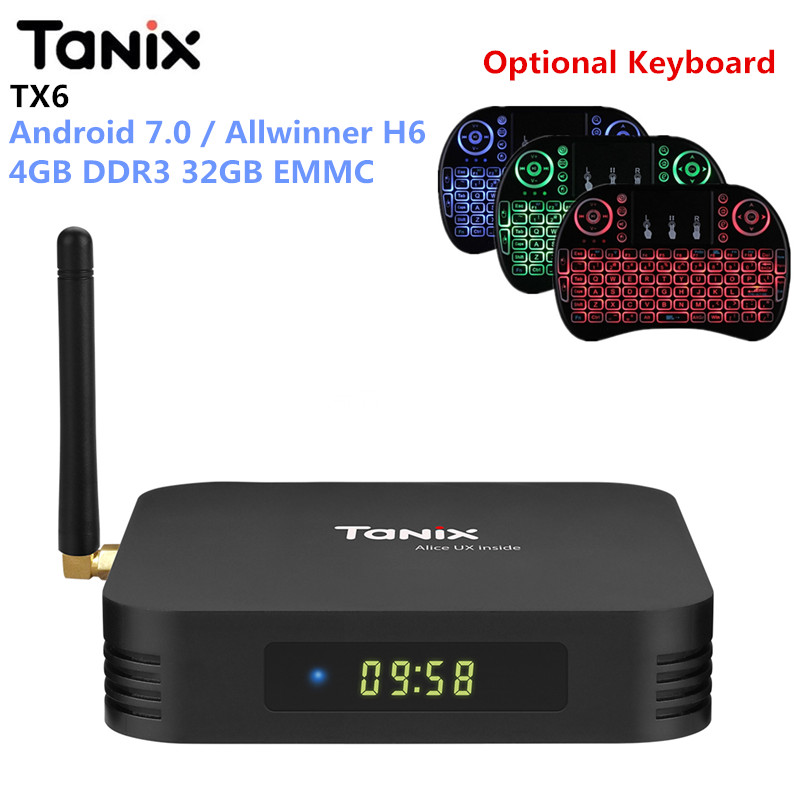 Tanix TX6 Android 7.0 Smart TV Box Allwinner H6 4 GB DDR3 32 GB EMMC Set Top Box 2,4 GHz + 5,8 GHz WiFi Bluetooth5.0 4 K-Player