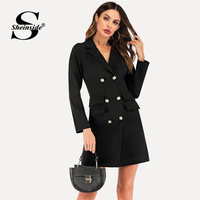 Sheinside Black Double Button Blazer Trim Dress Women Spring Casual Mini Dresses OL Ladies Notched Collar Solid Workwear Dress