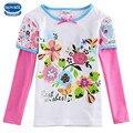 Envío libre nova t camisas nuevos diseños de camisetas de las muchachas ropa de los niños muchachas de la manera ropa de manga larga ropa del cabrito camisetas desgaste