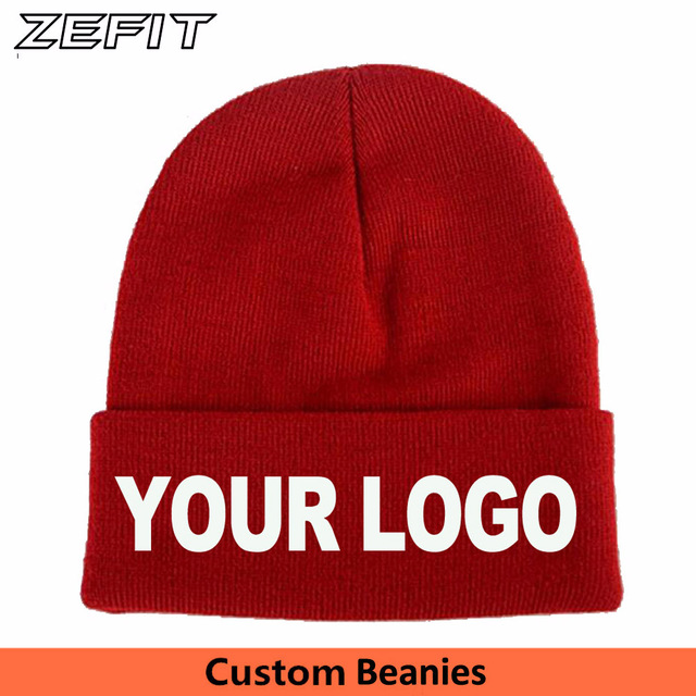a77c63b7210 Custom Beanies Knitted Warm Winter Team Personalized Adult Classical  Skullies High Quality Embroidery Label Long Cuff