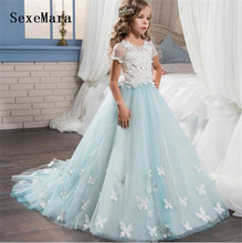 New Arrival Girls Ball Gowns Lace Butterflies Appliques Floor Length Flower Princess for Wedding Children Pageant Dresses