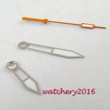 NOVA marca de prata borda luminosa & mãos laranja para ponteiros do relógio dos homens movimento miyota 8215 8205 821A