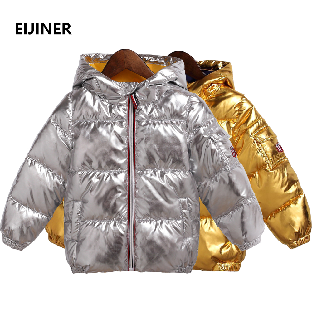 Children Winter Coats Jackets 2018 New Gold Silver Kids Jackets Thicken Boys Girls Coats Jackets Cotton Warm Boys Winter Coats цена