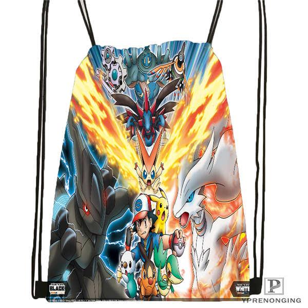 Custom Pokemon-black-and-white Drawstring Backpack Bag Cute Daypack Kids Satchel (Black Back) 31x40cm#180612-02-24