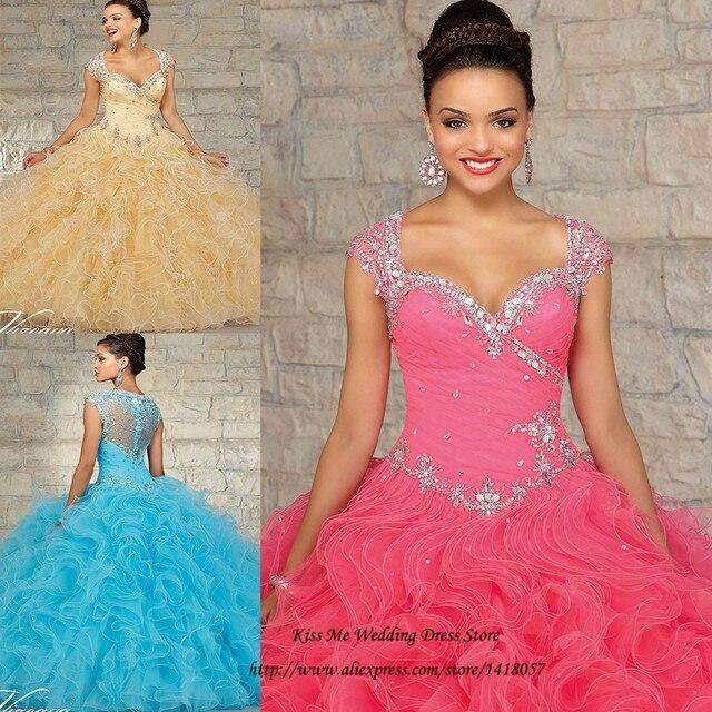 Vestidos de Quinceanera Princess Fushcia Blue Gold Debutante Gowns Dress for 15 Years Crystal Ruffles Quinceanera Dresses 2015